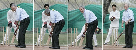 President Bush Plays Cricket